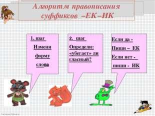 Алгоритм правописания суффиксов –ЕК –ИК 1. шаг Измени форму слова 2. шаг Опре