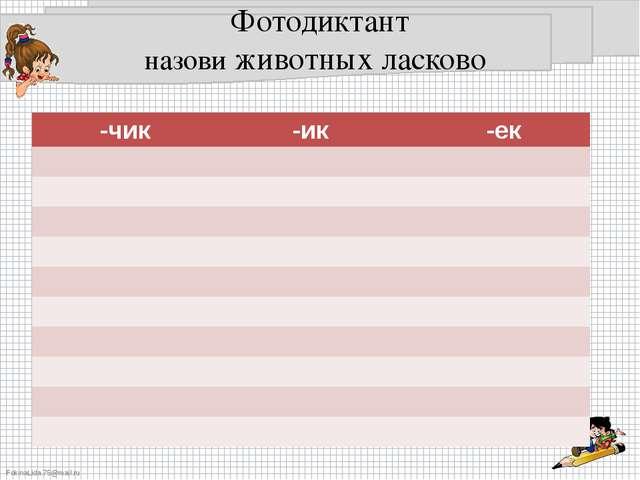 Фотодиктант назови животных ласково -чик -ик -ек FokinaLida.75@mail.ru