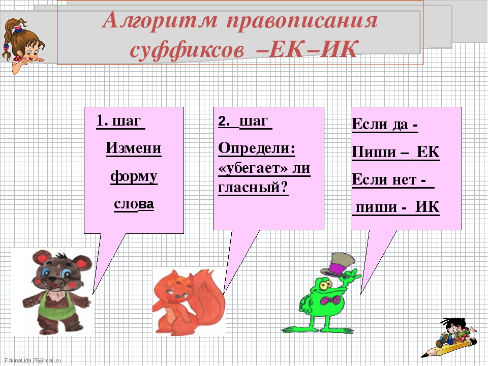 Алгоритм правописания суффиксов –ЕК –ИК 1. шаг Измени форму слова 2. шаг Опре...