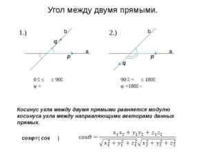 a b a b p q q p φ φ ϴ ϴ Угол между двумя прямыми. 0 ⁰ ≤ ϴ ≤ 90⁰ φ = ϴ 90 ⁰ <