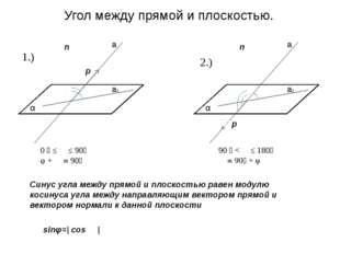 Угол между прямой и плоскостью. α φ ϴ α a a1 p n α φ ϴ α a a1 p n 0 ⁰ ≤ ϴ ≤ 9