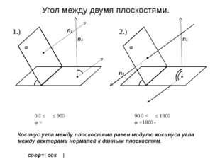 α α α β α n1 n2 φ ϴ Угол между двумя плоскостями. Косинус угла между плоскост