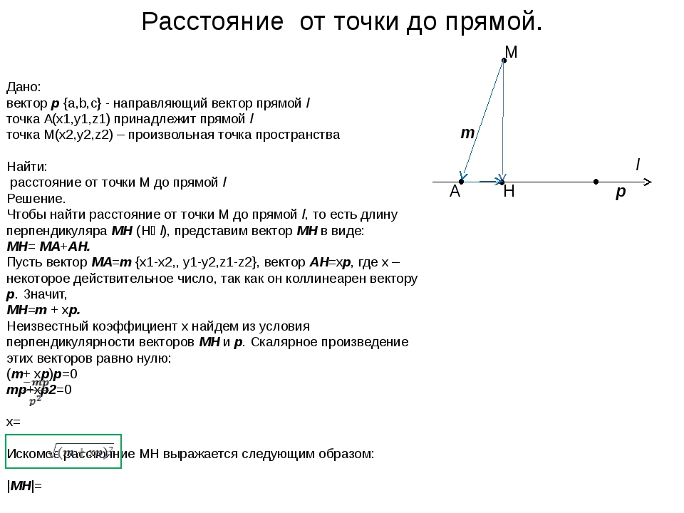 Дано: вектор р {a,b,c} - направляющий вектор прямой l точка A(x1,y1,z1) при...