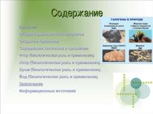 Содержание Введение Общая характеристика галогенов Открытие галогенов Содержа