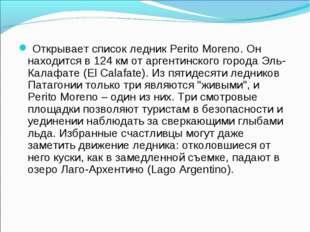 Открывает список ледник Perito Moreno. Он находится в 124 км от аргентинског