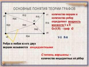 ОСНОВНЫЕ ПОНЯТИЯ ТЕОРИИ ГРАФОВ v5 v2 v3 v1 v4 R34 R45 R15 R23 R35 R34 R12 R14