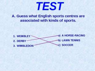 A. Guess what English sports centres are associated with kinds of sports. WEM