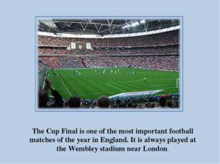 The Cup Final is one of the most important football matches of the year in En