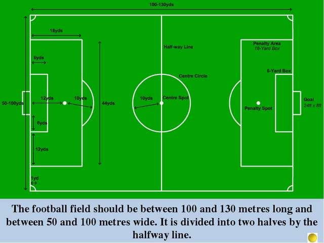 The football field should be between 100 and 130 metres long and between 50 a...