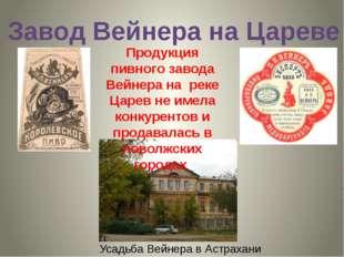 Завод Вейнера на Цареве Усадьба Вейнера в Астрахани Продукция пивного завода