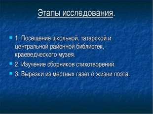 Этапы исследования. 1. Посещение школьной, татарской и центральной районной б