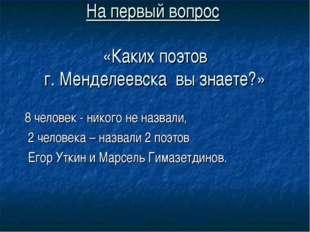 На первый вопрос «Каких поэтов г. Менделеевска вы знаете?» 8 человек - никого