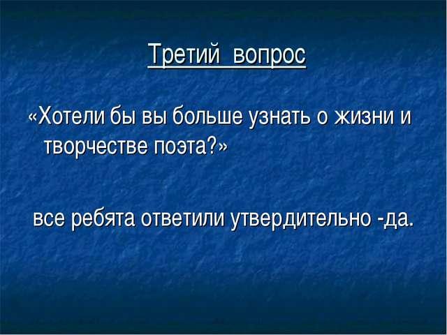 Третий вопрос «Хотели бы вы больше узнать о жизни и творчестве поэта?» все р...