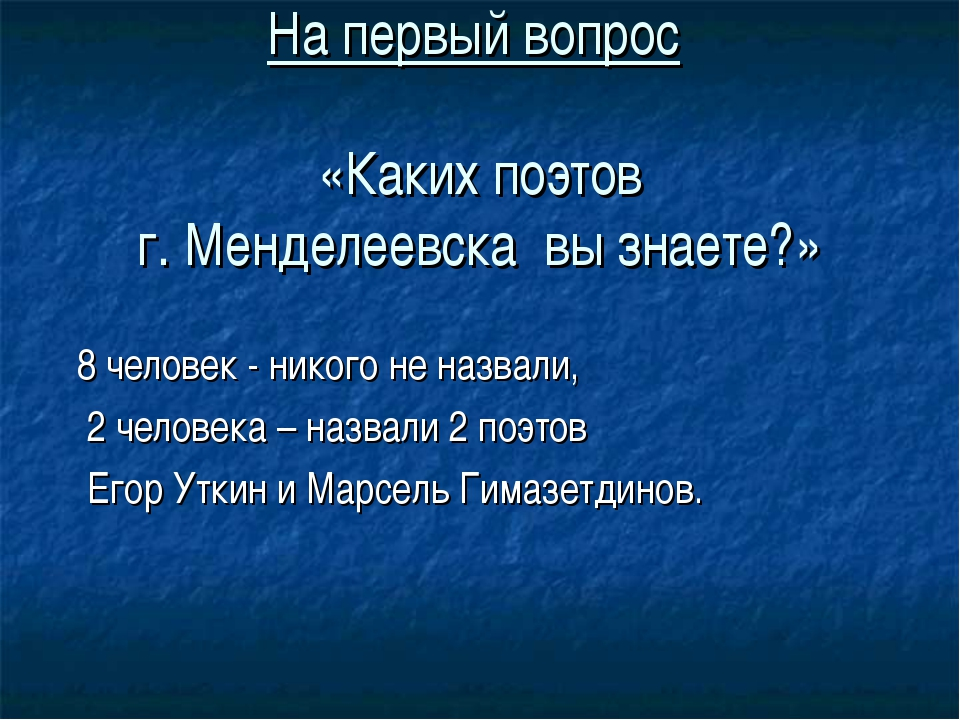 На первый вопрос «Каких поэтов г. Менделеевска вы знаете?» 8 человек - никого...