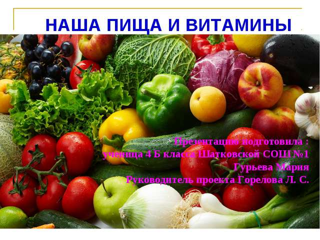 НАША ПИЩА И ВИТАМИНЫ Презентацию подготовила : ученица 4 Б класса Шатковской...