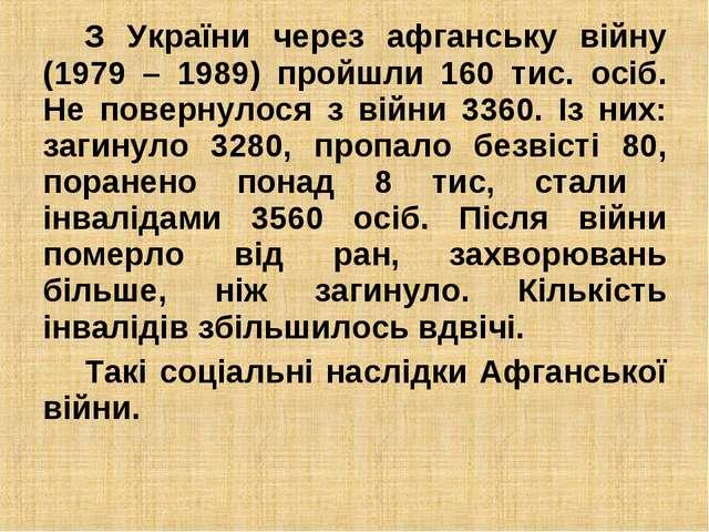 З України через афганську війну (1979 – 1989) пройшли 160 тис. осіб. Не повер...