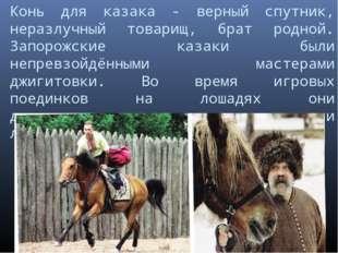 Конь для казака - верный спутник, неразлучный товарищ, брат родной. Запорожск