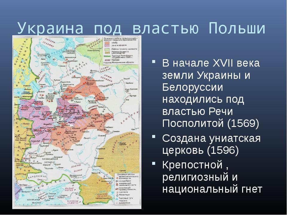 Украина под властью Польши В начале XVII века земли Украины и Белоруссии нахо...