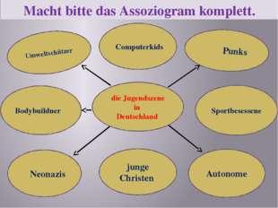 Macht bitte das Assoziogram komplett. die Jugendszene in Deutschland Umweltsc
