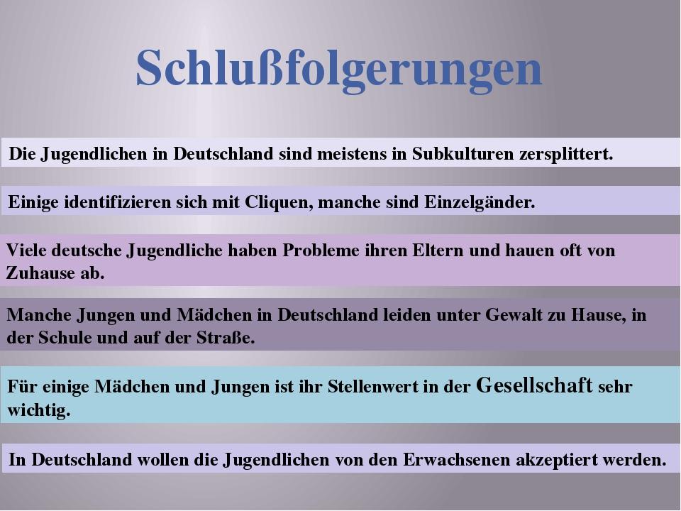 Schlußfolgerungen Die Jugendlichen in Deutschland sind meistens in Subkulture...