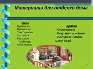Материалы для отделки дома * Обои Бумажные Виниловые Текстильные Фотообои Ков