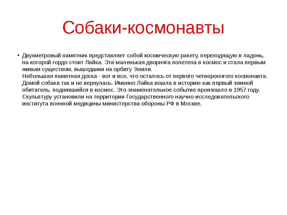 Собаки-космонавты Двухметровый памятник представляет собой космическую ракету...