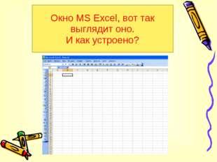 Окно MS Excel, вот так выглядит оно. И как устроено?