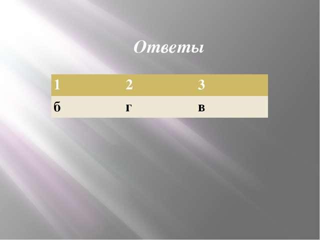 Ответы 1 2 3 б г в