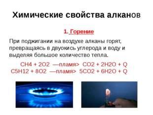 Химические свойства алканов 1. Горение При поджигании на воздухе алканы горят