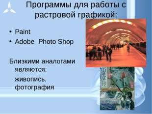 Программы для работы с растровой графикой: Paint Adobe Photo Shop Близкими ан