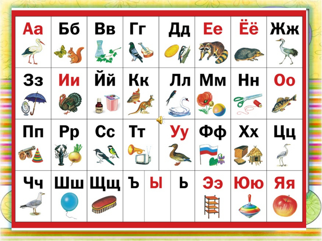 алфавит картинки средние начала