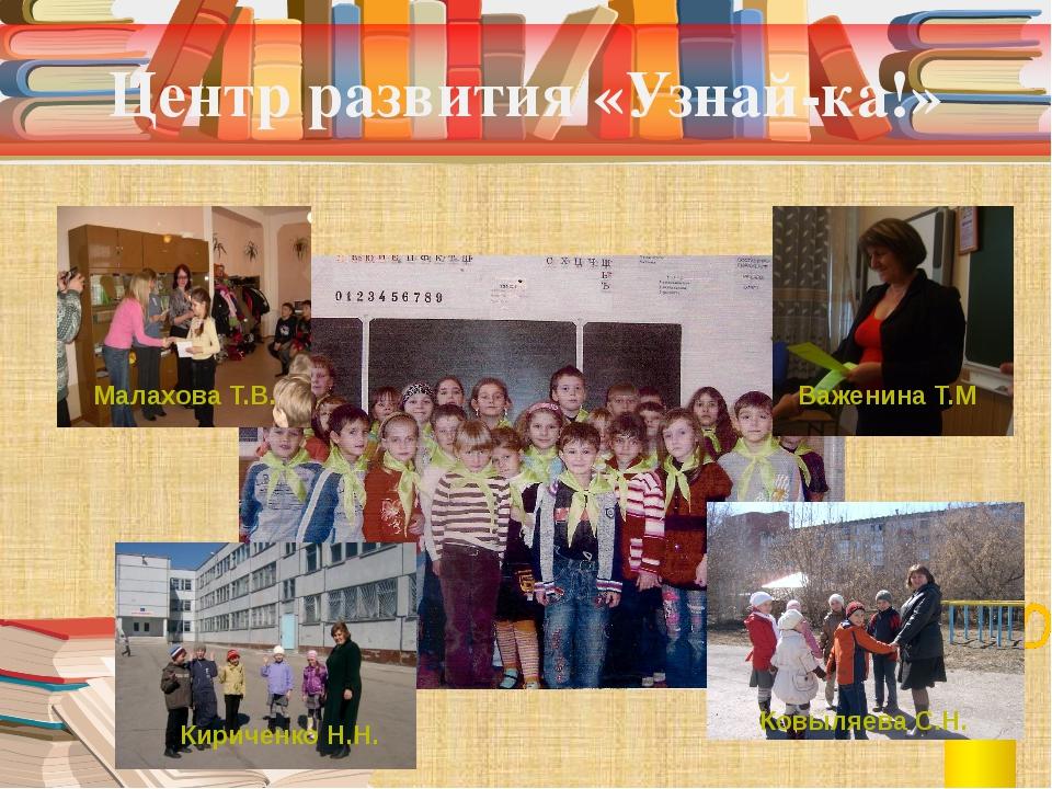 Центр развития «Узнай-ка!» Важенина Т.М Ковыляева С.Н. Кириченко Н.Н. Малахов...
