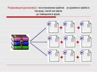 Разархивация (распаковка) – восстановление файлов из архивного файла в том ви