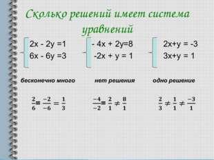 Сколько решений имеет система уравнений