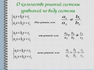 О количестве решений системы уравнений по виду системы Одно решение, если нет