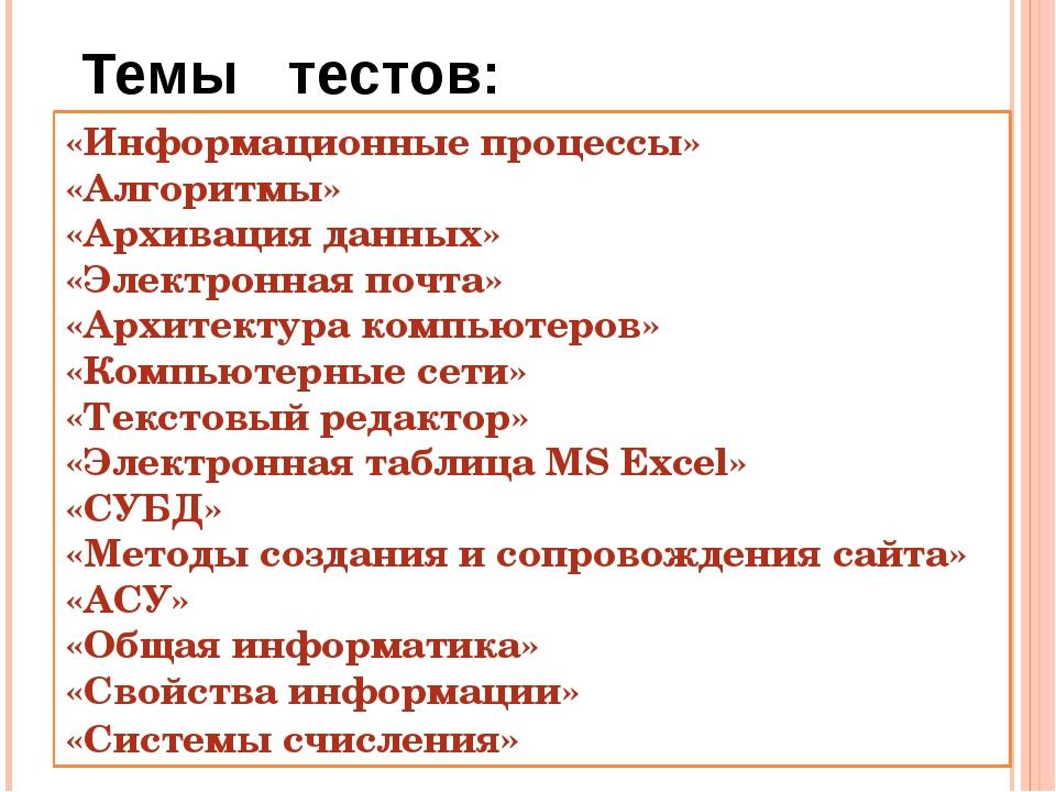 Темы тестов: «Информационные процессы» «Алгоритмы» «Архивация данных» «Электр...