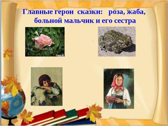 Главные герои сказки: роза, жаба, больной мальчик и его сестра