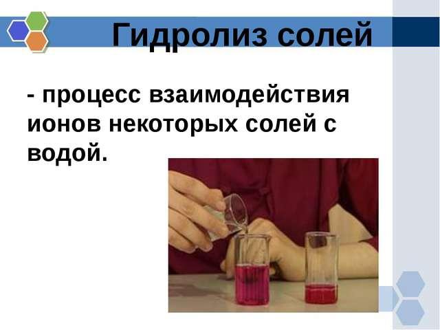 Гидролиз солей - процесс взаимодействия ионов некоторых солей с водой.