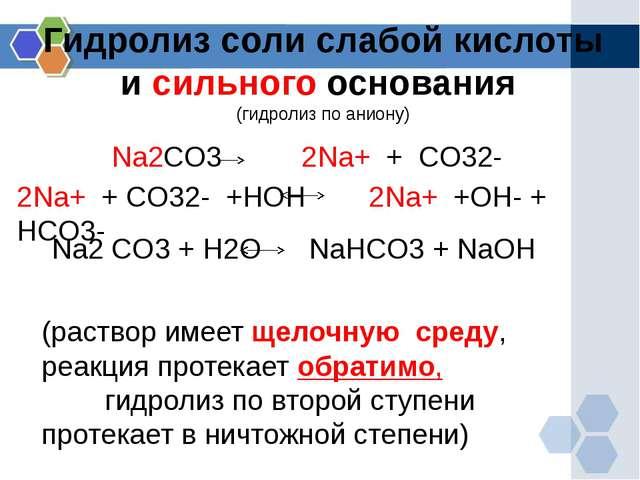 Гидролиз соли слабой кислоты и сильного основания (гидролиз по аниону) Na2CO3...