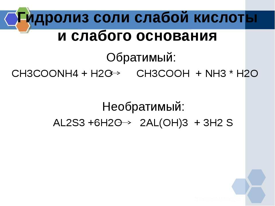 Гидролиз соли слабой кислоты и слабого основания Обратимый: CH3COONH4 + H2O C...