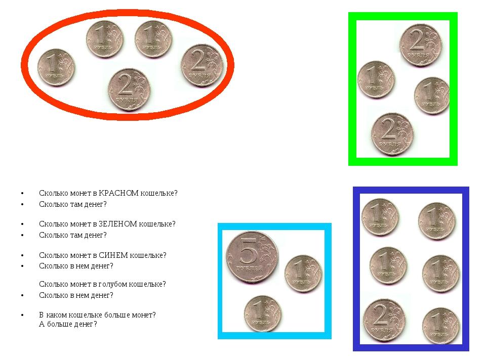 Сколько монет в КРАСНОМ кошельке? Сколько там денег? Сколько монет в ЗЕЛЕНОМ...