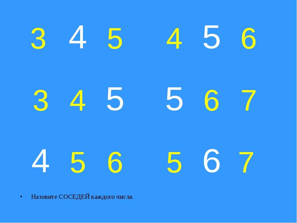 Назовите СОСЕДЕЙ каждого числа. 3 5 4 6 3 4 6 7 5 6 5 7 4 5 5 5 4 6