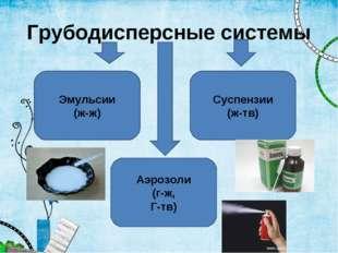 Грубодисперсные системы Эмульсии (ж-ж) Аэрозоли (г-ж, Г-тв) Суспензии (ж-тв)