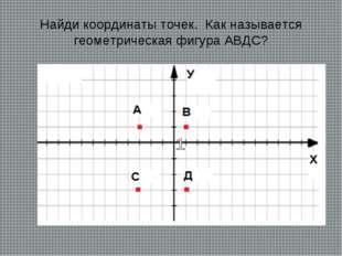 Найди координаты точек. Как называется геометрическая фигура АВДC?