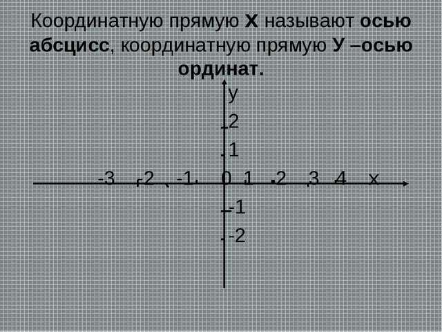 Координатную прямую х называют осью абсцисс, координатную прямую У –осью орди...