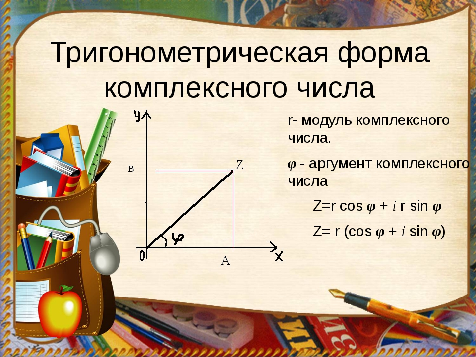 Тригонометрическая форма комплексного числа r- модуль комплексного числа. φ -...