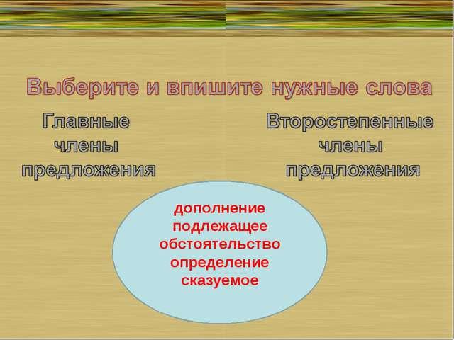 дополнение подлежащее обстоятельство определение сказуемое
