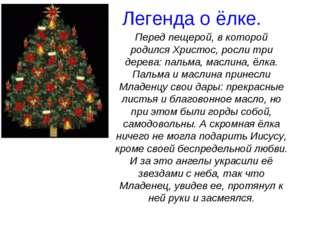 Легенда о ёлке. Перед пещерой, в которой родился Христос, росли три дерева: