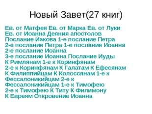 Новый Завет(27 книг) Ев. от Матфея Ев. от Марка Ев. от Луки Ев. от Иоанна Дея
