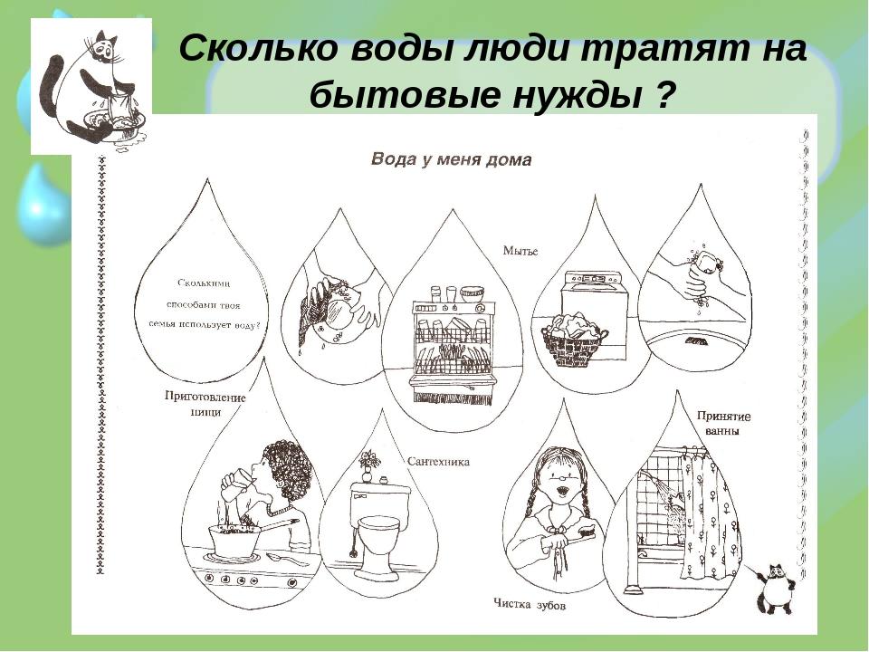 Сколько воды люди тратят на бытовые нужды ?